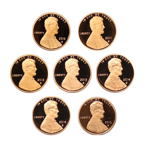 2010-2016 S Proof Lincoln Shield Cent Run 7 Coins