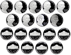2010-2018 S Proof Jefferson Nickel Run 9 Coins