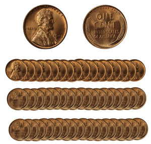 1945 P Lincoln Wheat Cent Choice/Gem BU Roll (50 Coins)