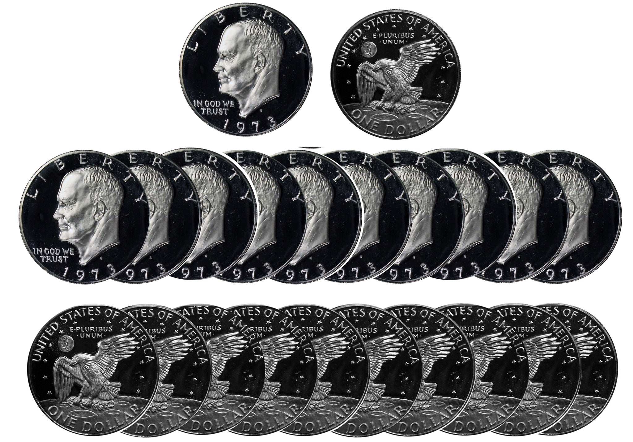 1973 S Eisenhower Dollar Deep Cameo Proof Roll 40% Silver (20 Coins)