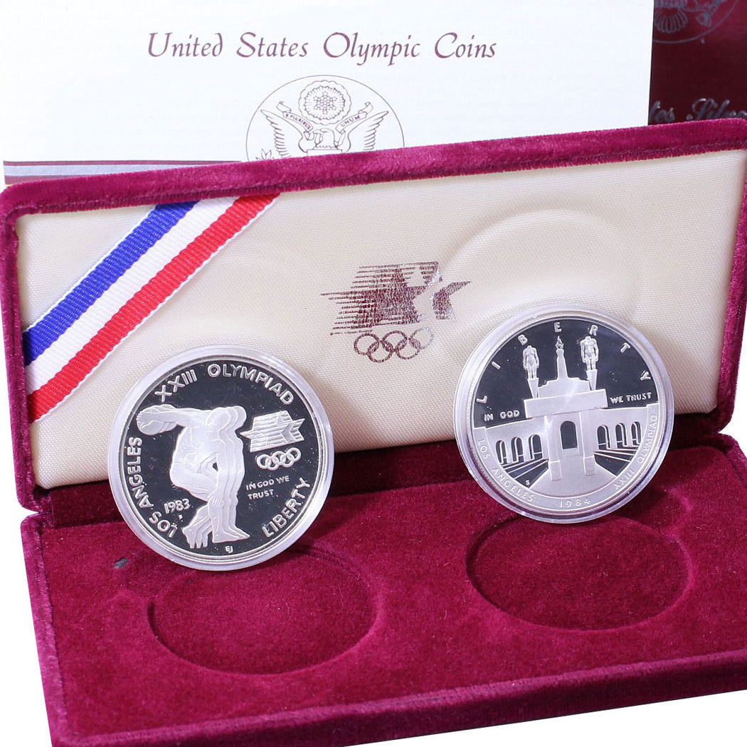 1983-84 Olympic Dollars Proof Commemorative 2 Coin Set 90% Silver OGP