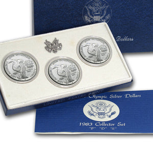 1983 Olympic Dollars Uncirculated Commemorative 3 Coin Set 90% Silver OGP