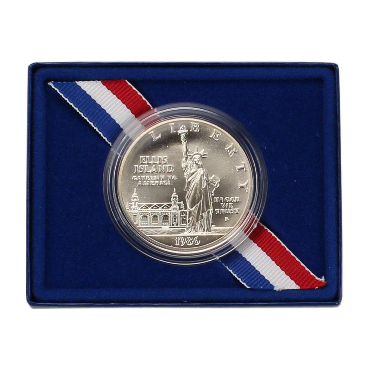 1986-P Statue of Liberty Uncirculated Commemorative Dollar 90% Silver OGP