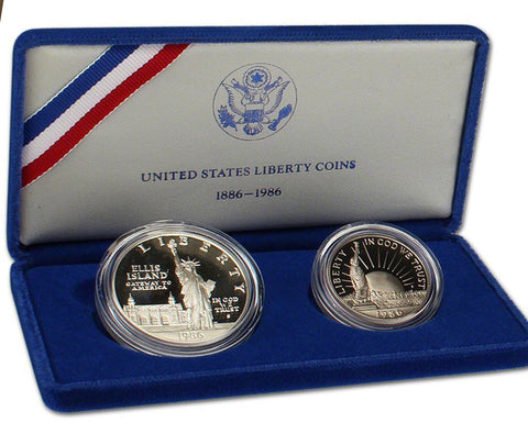 1986 Statue of Liberty Proof Commemorative 2 Coin Set 90% Silver & Clad OGP