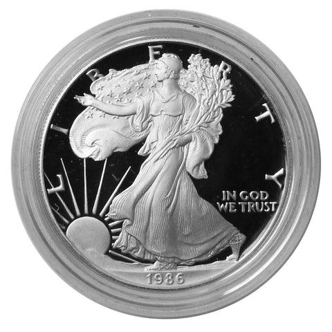 1986 S American Eagle Silver Proof 1 oz dollar - w/box & Coa