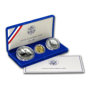 1996 Statue of Liberty Proof Commemorative 3 Coin Set 90% Silver, Gold & Clad OGP
