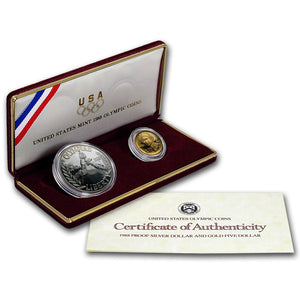 1988 Olympic Proof Commemorative 2 Coin Set 90% Silver & Gold OGP