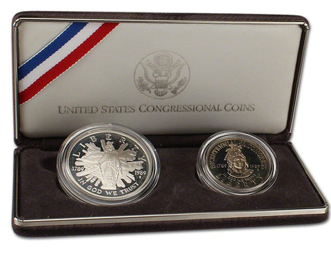 1989 Congressional Proof Commemorative 2 Coin Set 90% Silver & Clad OGP
