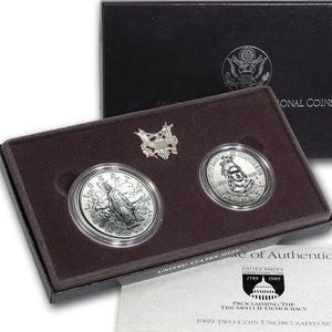 1989 Congressional Uncirculated Commemorative 2 Coin Set 90% Silver & Clad OGP