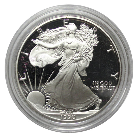 1990 S American Eagle Silver Proof 1 oz dollar - w/box & Coa