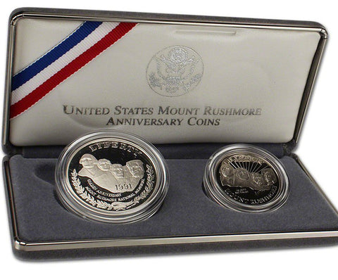 1991 Mt Rushmore Proof Commemorative 2 Coin Set 90% Silver & Clad OGP