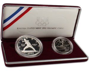 1992 Olympic Proof Commemorative 2 Coin Set 90% Silver & Clad OGP