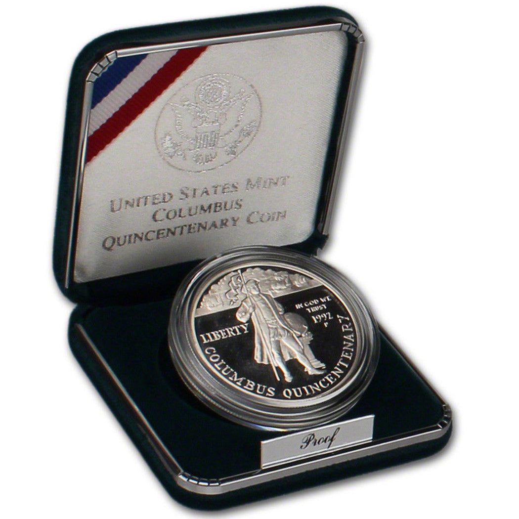 1992-P Columbus Proof Commemorative Dollar 90% Silver OGP