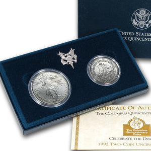 1992 Columbus Uncirculated Commemorative 2 Coin Set 90% Silver & Clad OGP