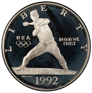 1992-S Olympic Baseball Proof Commemorative Dollar 90% Silver OGP