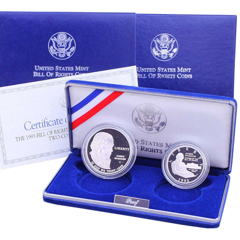 1993 Bill of Rights Proof Commemorative 2 Coin Set 90% Silver & Clad OGP
