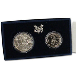1991-95 WWII Uncirculated Commemorative 2 Coin Set 90% Silver & Clad OGP