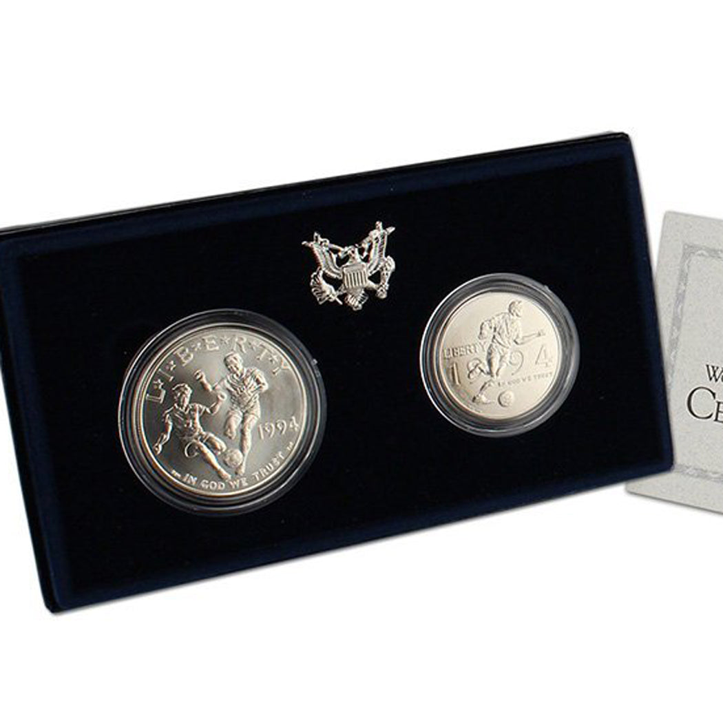 1994 World Cup Uncirculated Commemorative 2 Coin Set 90% Silver & Clad OGP