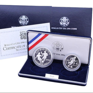 1994 World Cup Proof Commemorative 2 Coin Set 90% Silver & Clad OGP