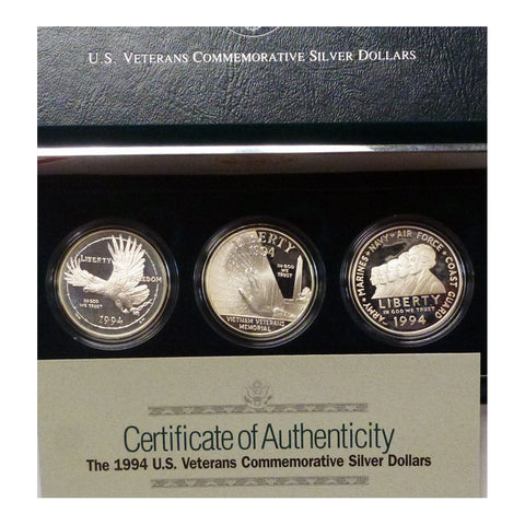 1994 Veterans Dollars Proof Commemorative 3 Coin Set 90% Silver OGP