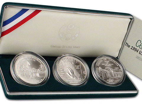 1994 Veterans Dollars Uncirculated Commemorative 3 Coin Set 90% Silver OGP