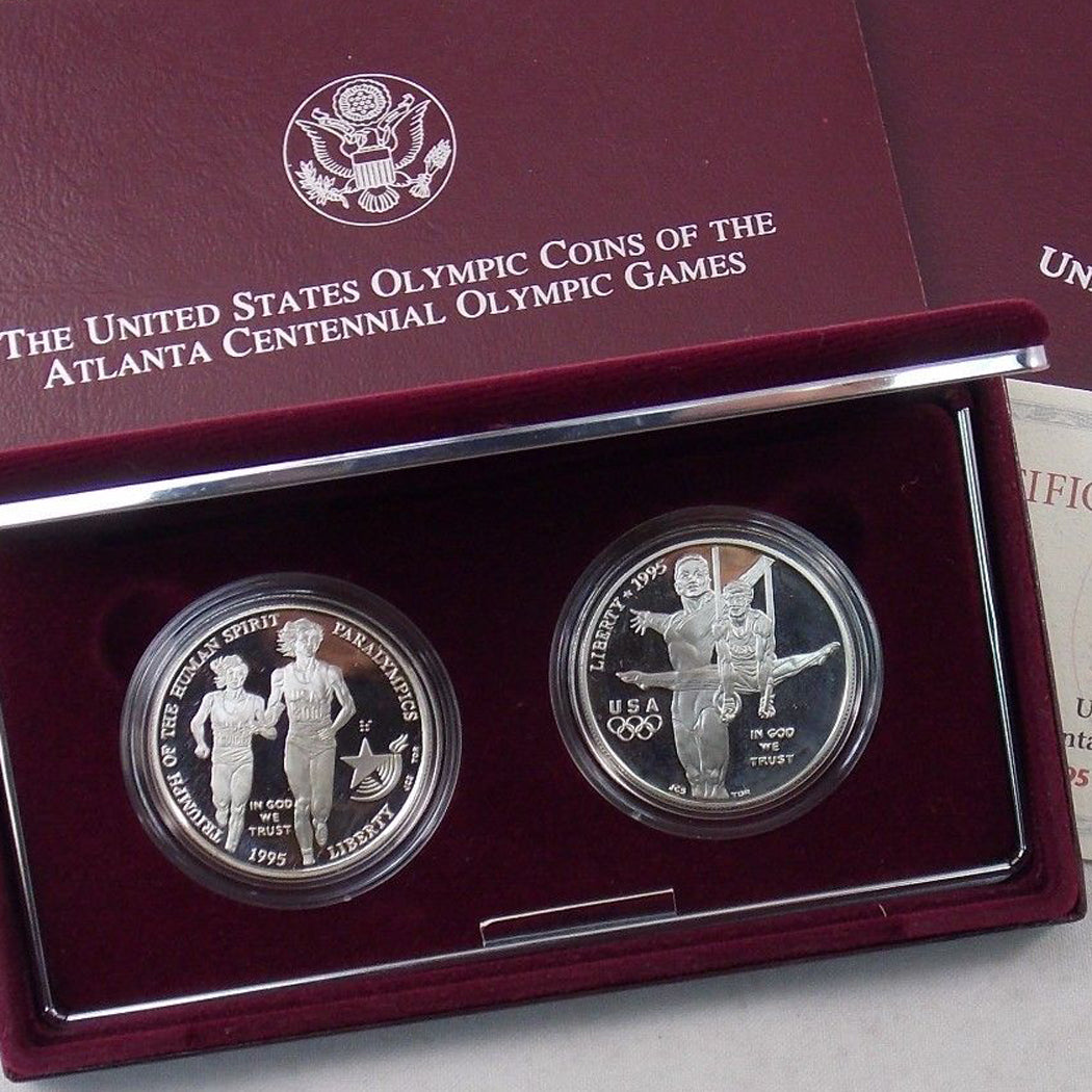 1995 Olympic Gymnast & Blind Runner Proof Commemorative 2 Coin Set 90% Silver OGP