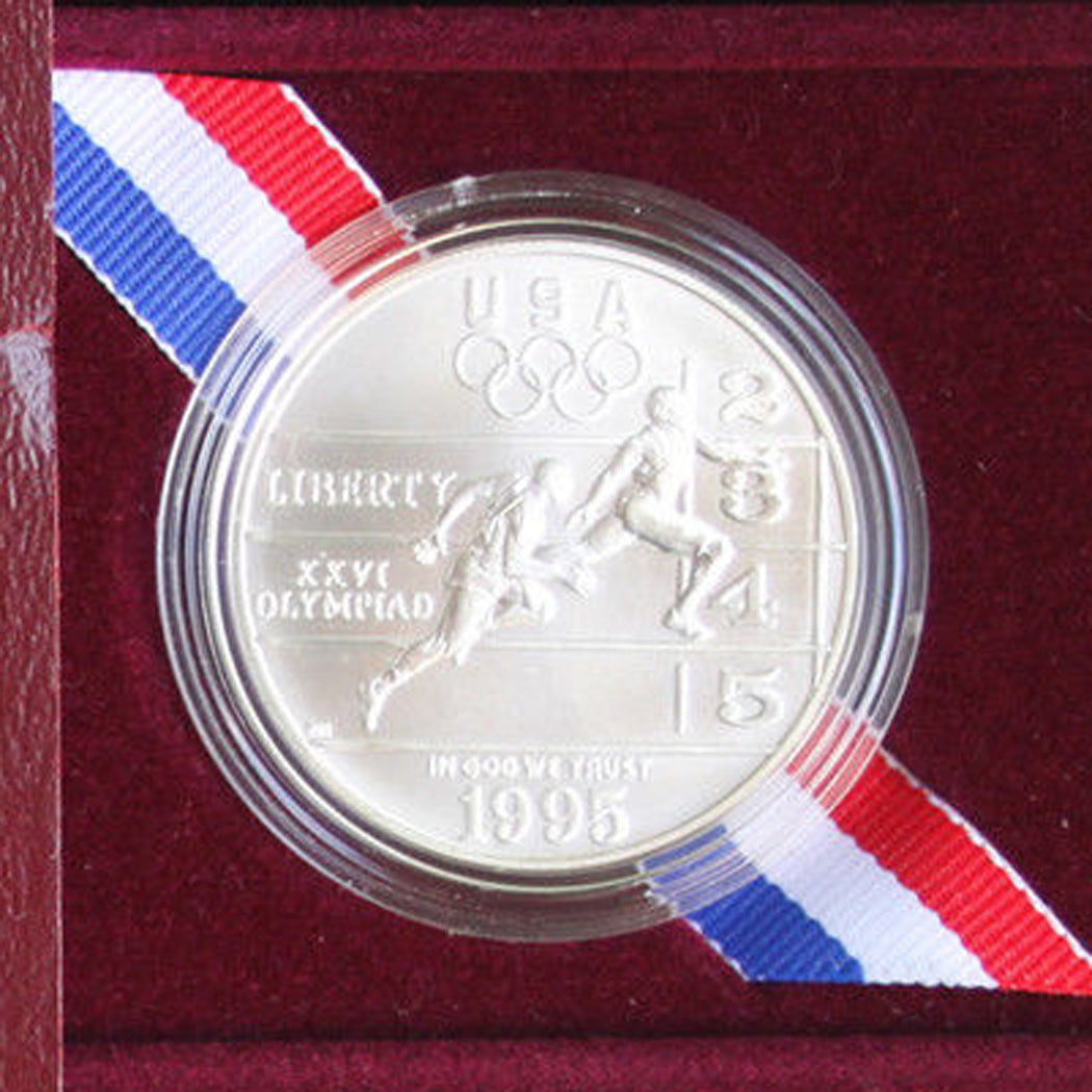 1995-D Olympic Track & Field Uncirculated Commemorative Dollar 90% Silver OGP