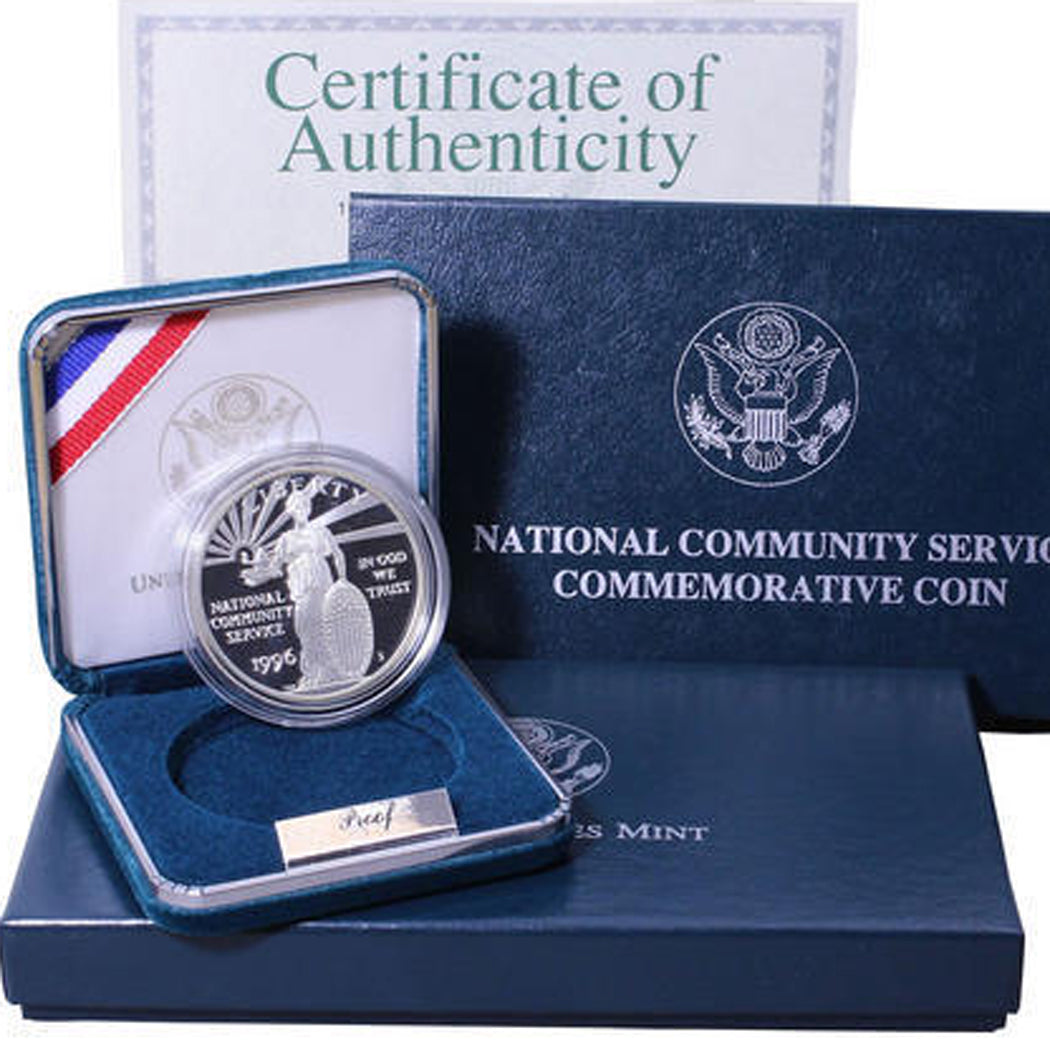 1996-S Community Service Proof Commemorative Dollar 90% Silver OGP