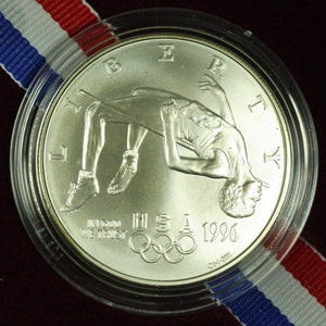 1996-D Olympic High Jump Uncirculated Commemorative Dollar 90% Silver OGP