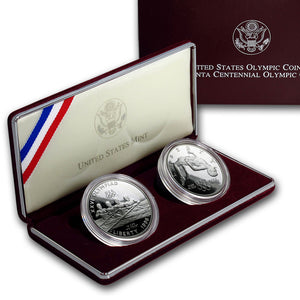 1996 Olympic Rowing & High Jump Proof Commemorative 2 Coin Set 90% Silver OGP