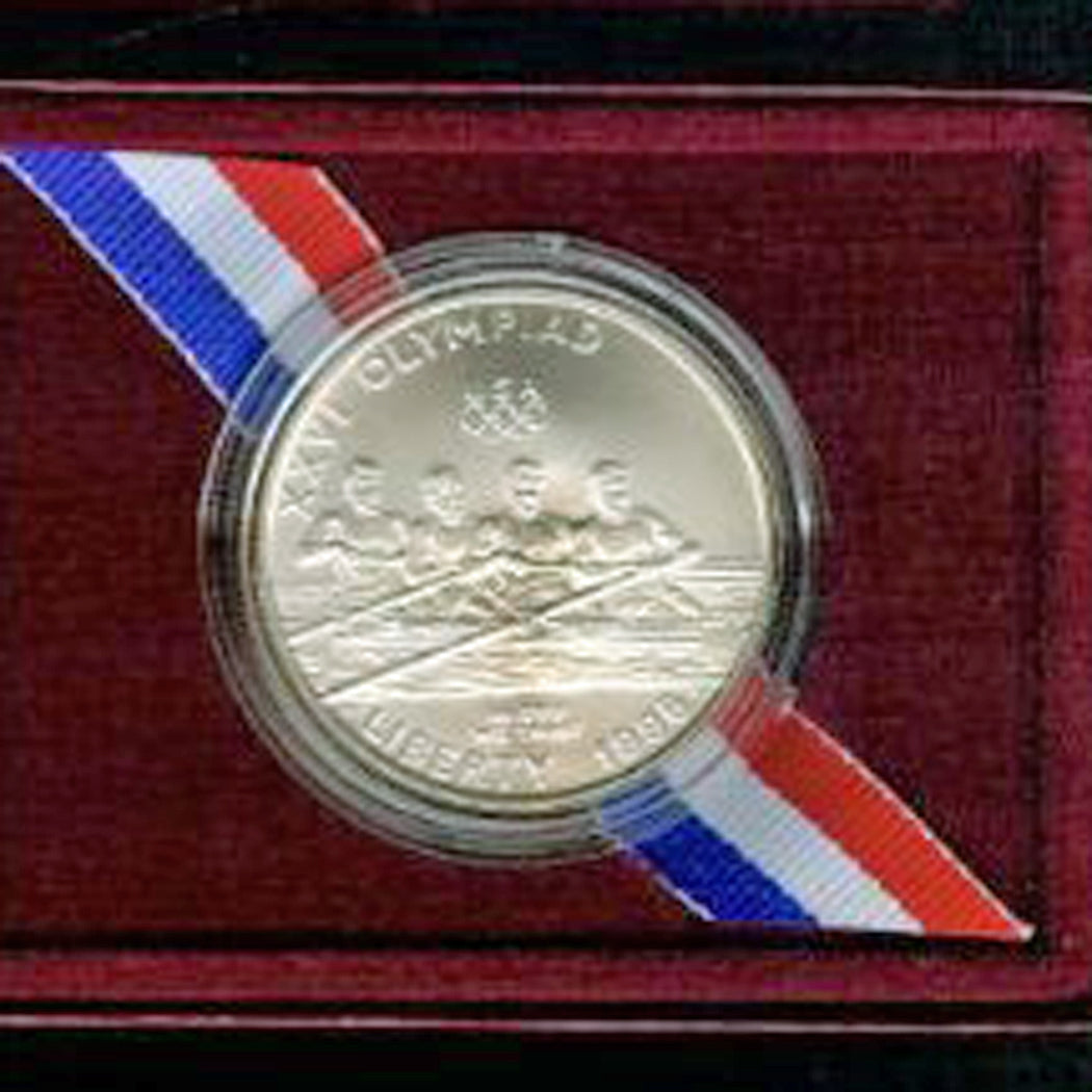 1996-D Olympic Rowing Uncirculated Commemorative Dollar 90% Silver OGP