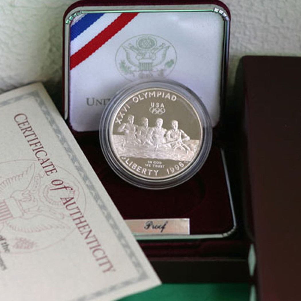 1996-P Olympic Rowing Proof Commemorative Dollar 90% Silver OGP