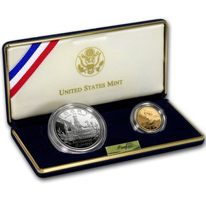 1996 Smithsonian Proof Commemorative 2 Coin Set 90% Silver & Gold OGP