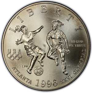 1996-S Olympic Soccer Uncirculated Commemorative Half Dollar Clad OGP
