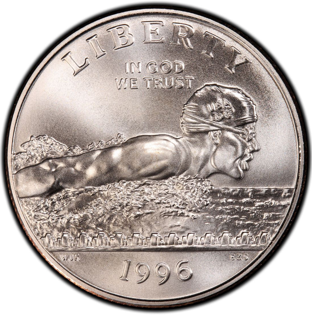 1996-S Olympic Swimming Uncirculated Commemorative Half Dollar Clad OGP