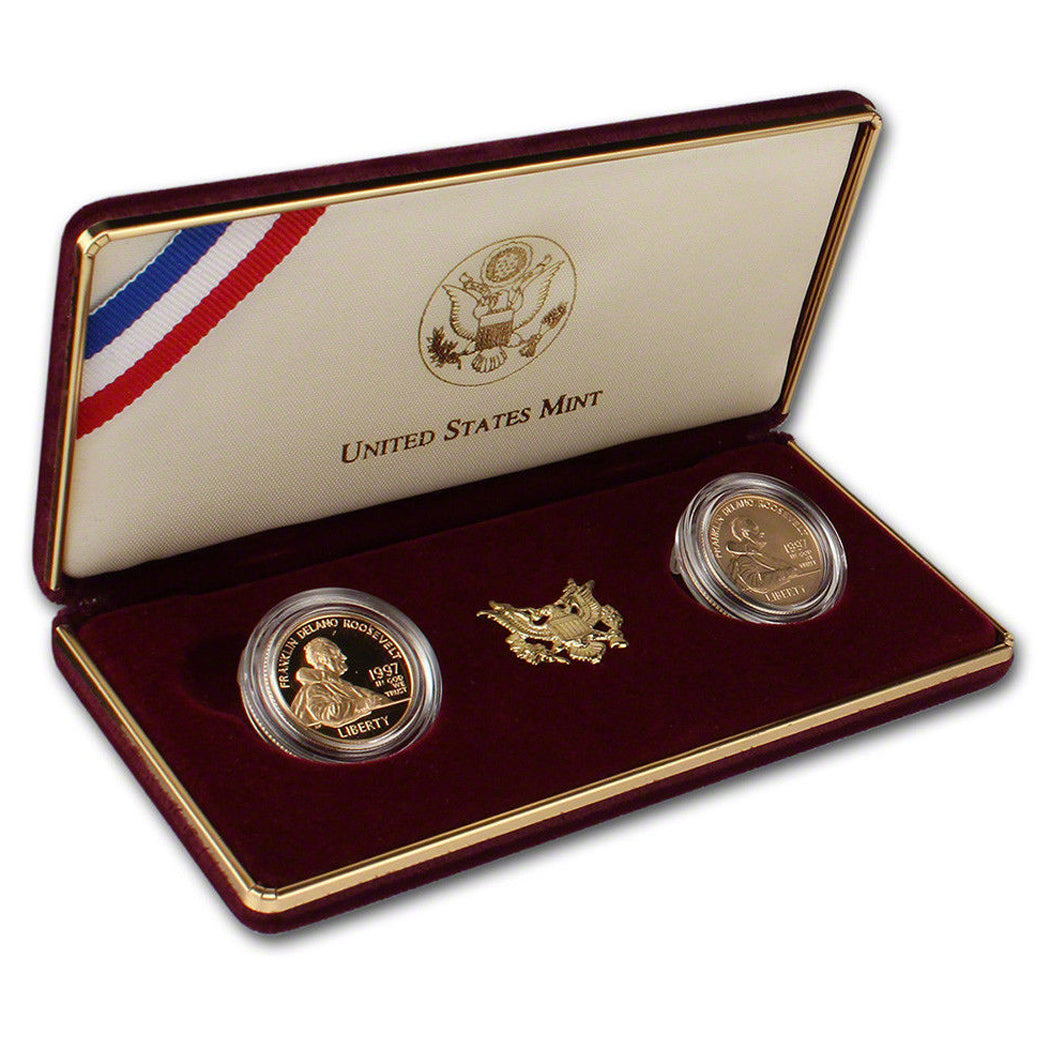 1997 F Roosevelt $5 Gold Proof & Uncirculated Commemorative 2 Coin Set Gold OGP