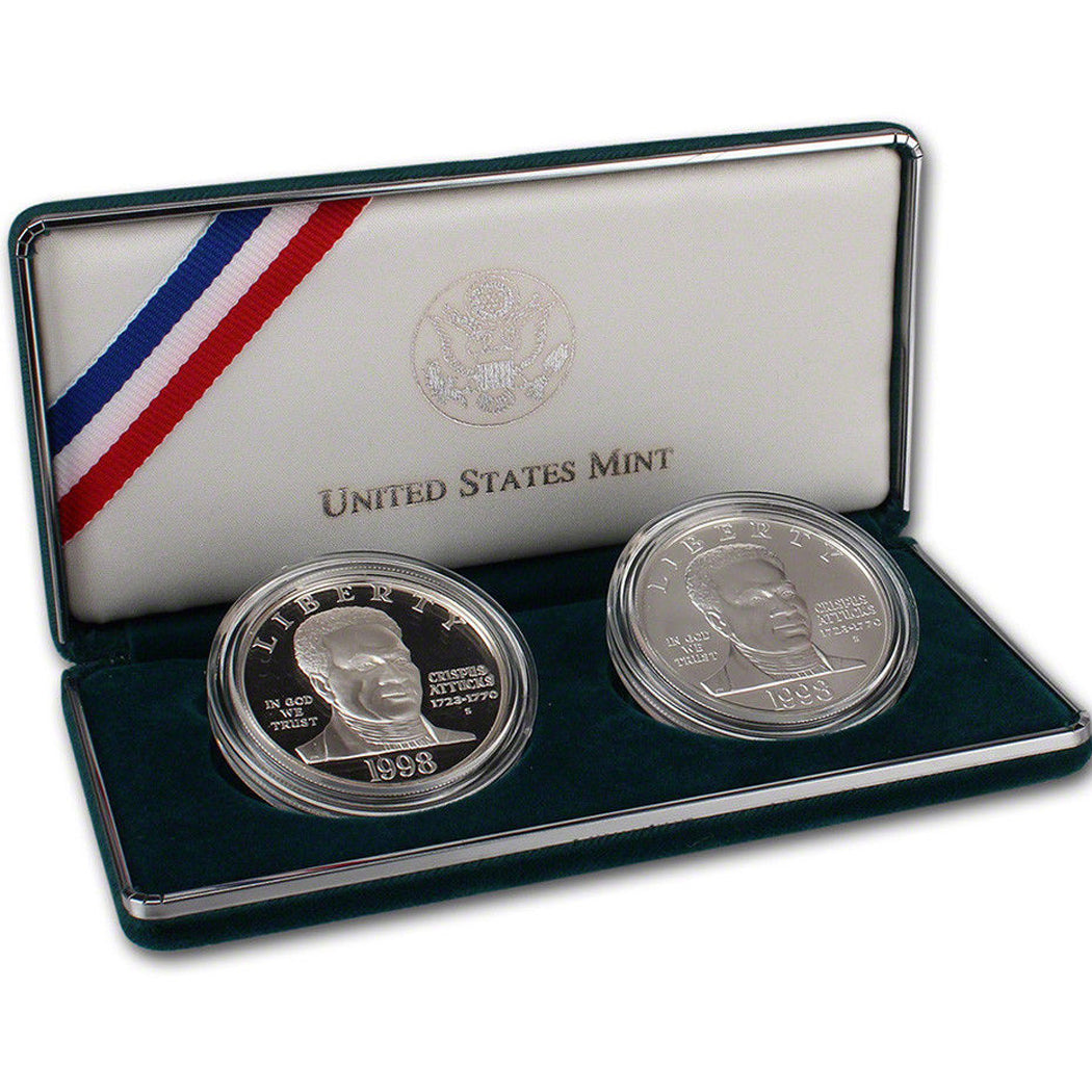 1998 Black PatriotsP roof & Uncirculated Commemorative 2 Coin Set 90% Silver OGP