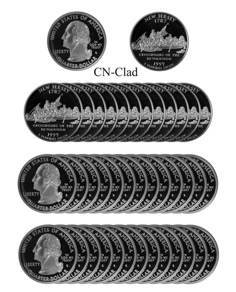 1999 S New Jersey State Quarter Proof Roll CN-Clad (40 Coins)