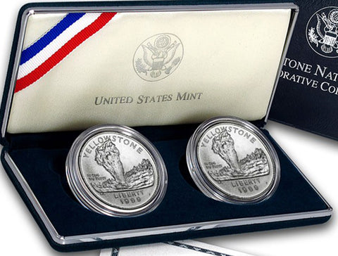 1999 Yellowstone Proof & Uncirculated Commemorative 2 Coin Set 90% Silver OGP