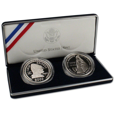 2000 Leif Ericson & Iceland 1000 Kr Proof Commemorative 2 Coin Set 90% Silver OGP