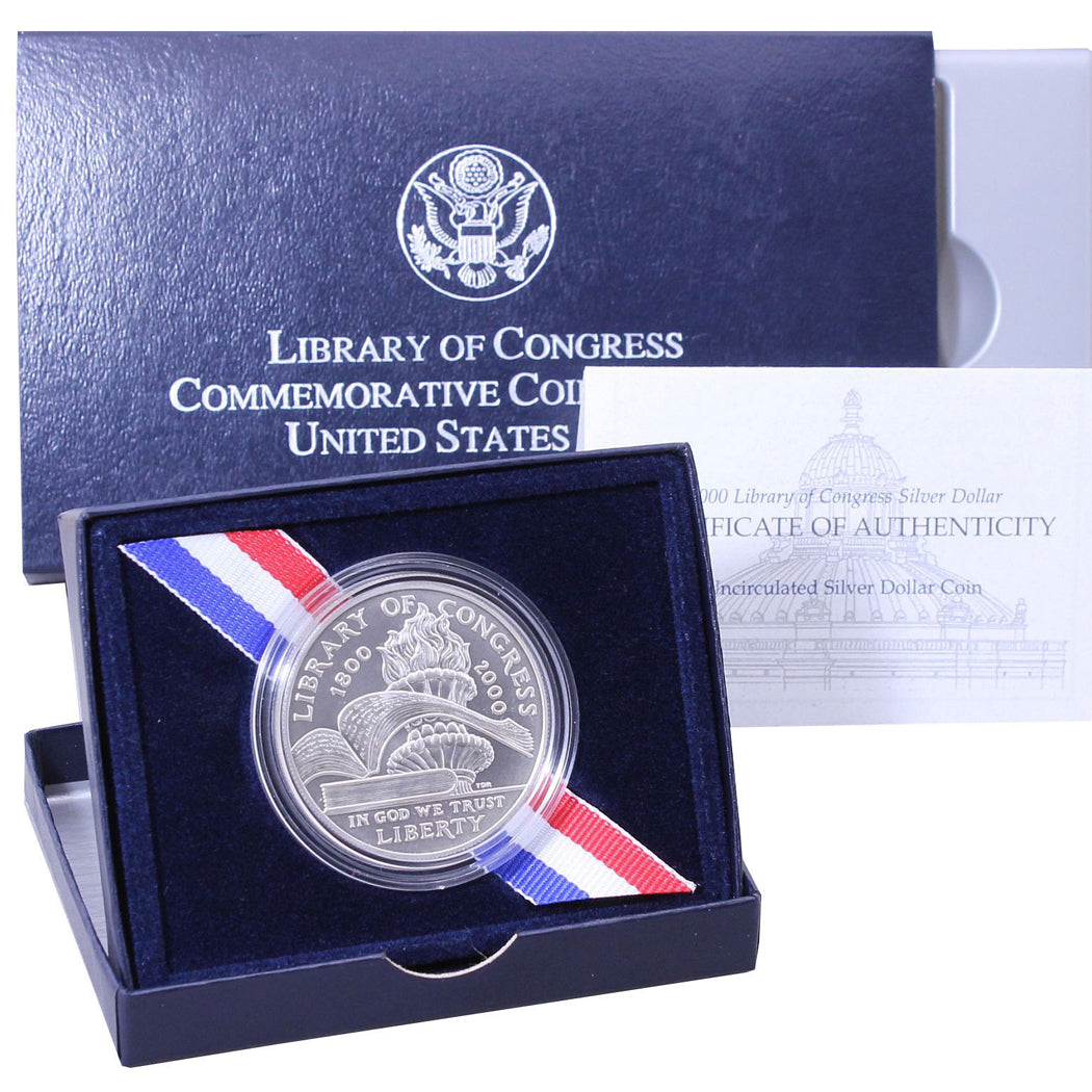 2000-P Library of Congress Uncirculated Commemorative Dollar 90% Silver OGP