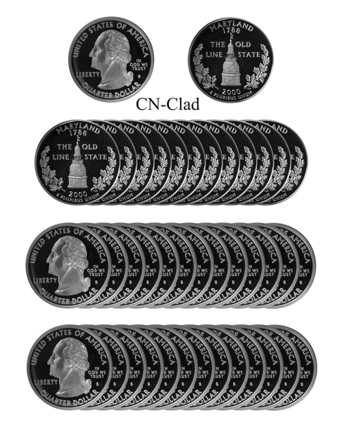2000 S Maryland State Quarter Proof Roll CN-Clad (40 Coins)