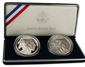 2001 Buffalo Dollars Proof & Uncirculated Commemorative 2 Coin Set 90% Silver OGP