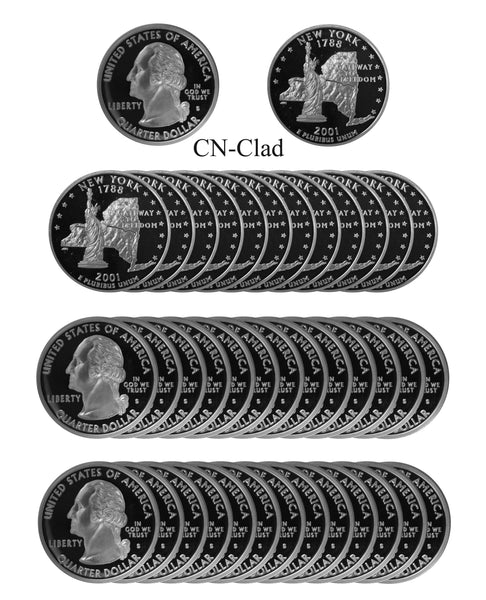 2001 S New York State Quarter Proof Roll CN-Clad (40 Coins)
