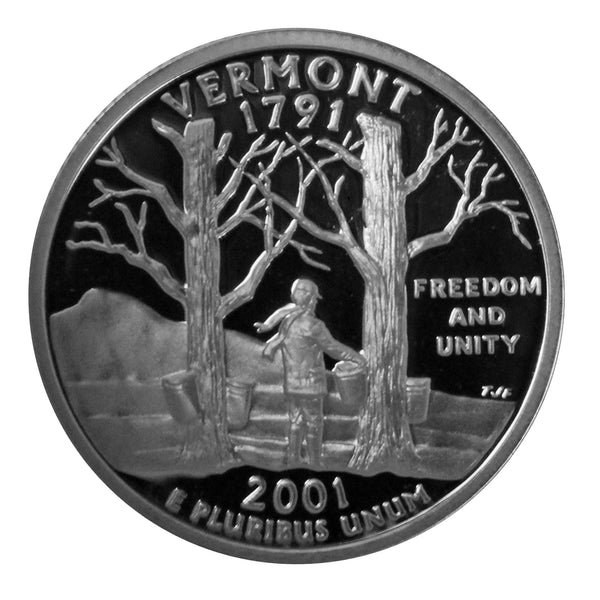2001 S Vermont State Quarter Proof Roll CN-Clad (40 Coins)