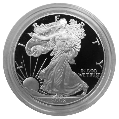 2002 W American Eagle Silver Proof 1 oz dollar - w/box & Coa