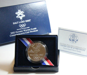 2002-P Salt Lake City Olympics Uncirculated Commemorative Dollar 90% Silver OGP