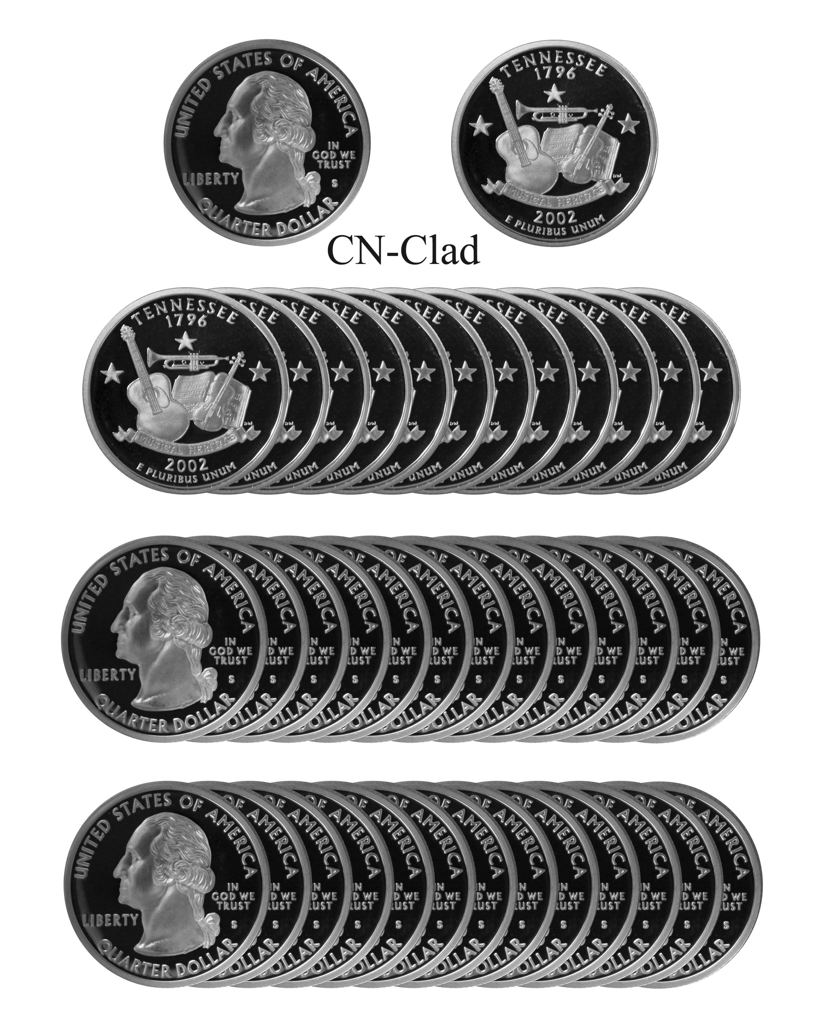 2002 S Tennessee State Quarter Proof Roll CN-Clad (40 Coins)