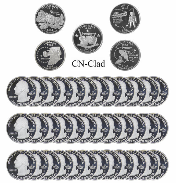 2002 S State Quarter Gem Deep Cameo Proof Roll CN-Clad (40 Coins)