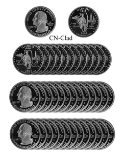 2003 S Illinois State Quarter Proof Roll CN-Clad (40 Coins)